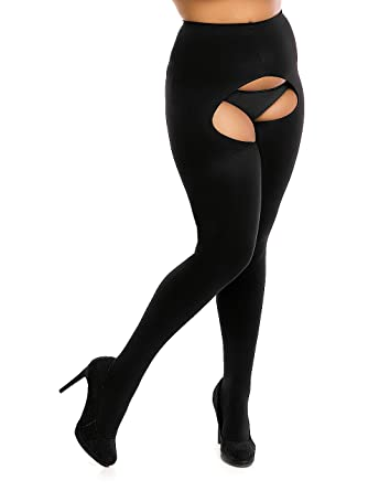 BIGGI BIG Ouvert 60 DENIER Ouvert-collants grandes tailles  Amazon ... e26d2be5f0d