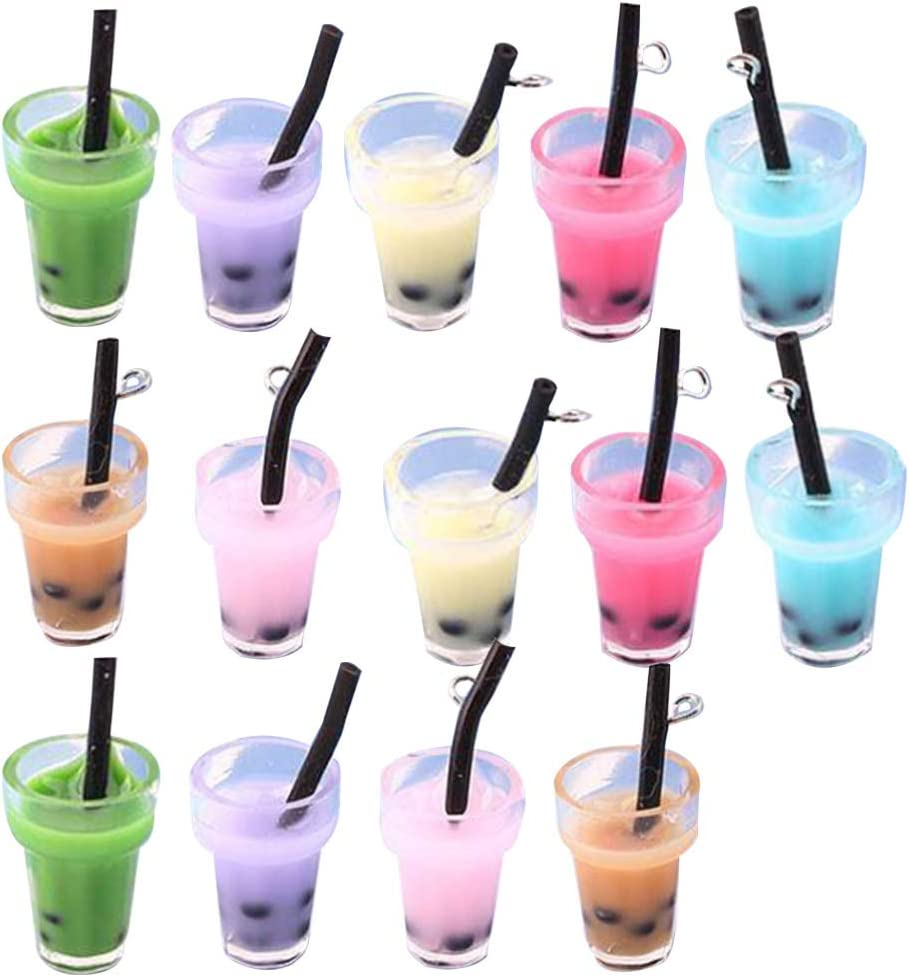 SUPVOX 14pcs Earring Pendant Charms Miniature Milk Tea Embellishments for Crafts DIY Keychain Jewelry Making Accessories
