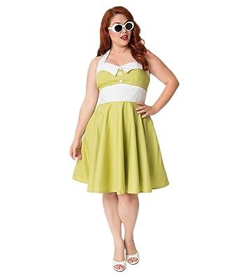Plus Size 1950s Style Olive Green & White Halter Ashley ...