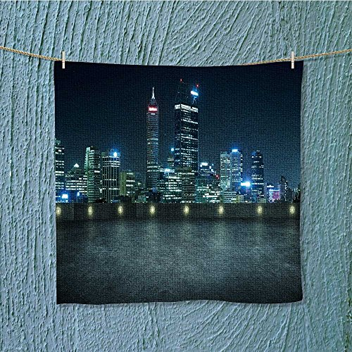AuraiseHome hiking towelempty asphalt roof top with city skyline night scene perth australia Machine washable W19.7 x W19.7]()