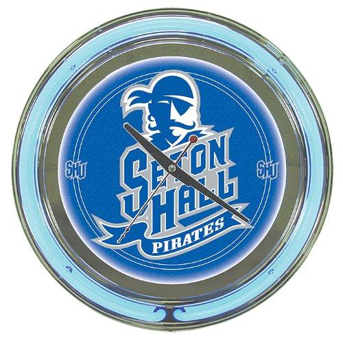 (NCAA Seton Hall University Chrome Double Ring Neon Clock, 14