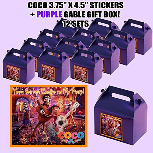 Coco Disney Movie, Miguel, Party Favor Boxes with Thank you Decals Stickers Loots Purple Birthday Shower dia de los muertos day of the dead 12 PIECES GREAT SELLER