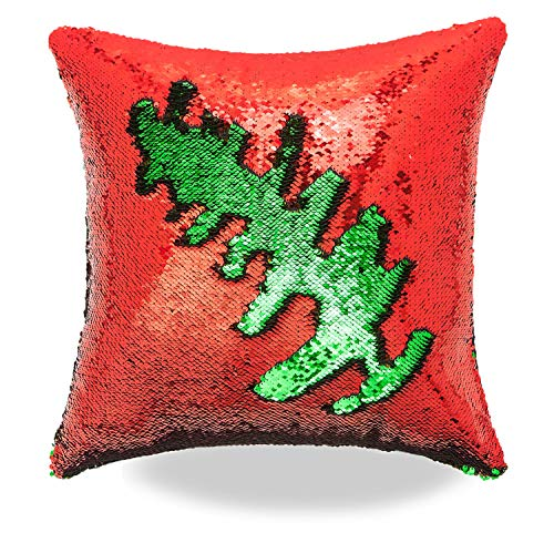 Livedeal Reversible Sequins Mermaid Pillow Cases 4040cm (Red and Green)