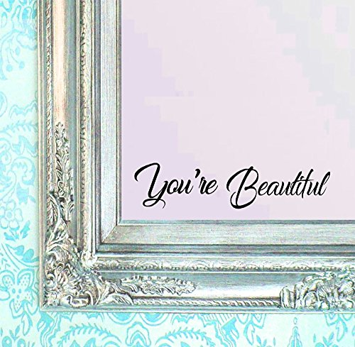 BERRYZILLA You're Beautiful Decal v2 Quote Hello Mirror Living Room Vinyl Carving Wall Sticker for Gorgeous Home Window Decoration Stickerciti Brand by BERRYZILLA