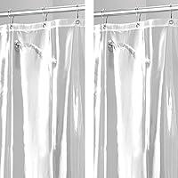 mDesign Juego de 2 cortinas para baños – Cortina para bañera con 12 ojales de metal reforzados para una colocación…