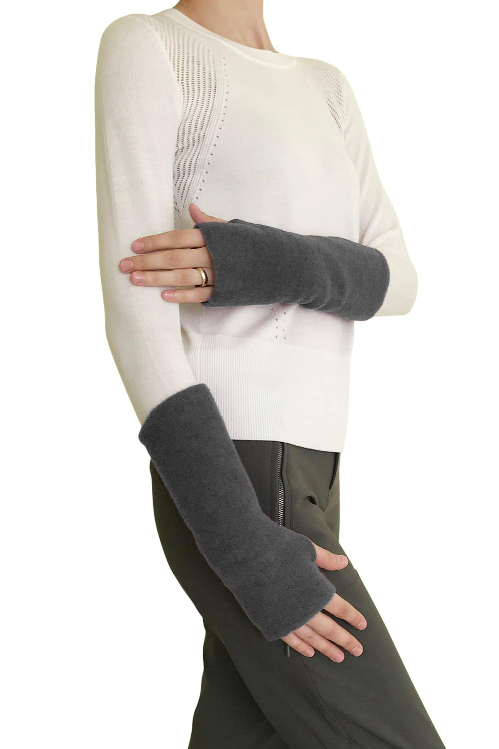 Women's Arm Warmer Sleeves - Fingerless Gloves with Thumb Holes, Pure Merino Wool Fleece (Grey Melange) by EcoAble Apparel (Image #2)