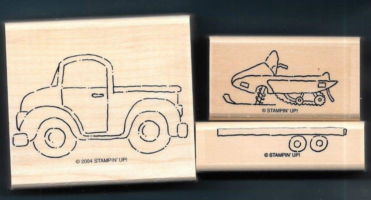 Rubber Stamp Frames Truck Trailer Snowmobile Outdoor Snow Loads of Love Fun Rubber Stamp