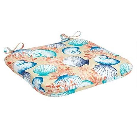 Amazon Seashells Nautical Indoor Outdoor Squared Seat Cushion