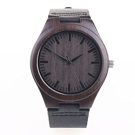 Amazon.com: Bamboo Wooden Watch with Cowhide Leather Strap Japanese Quartz Movement Casual Watches Creative Gifts For Men (Gray without numbers): Watches