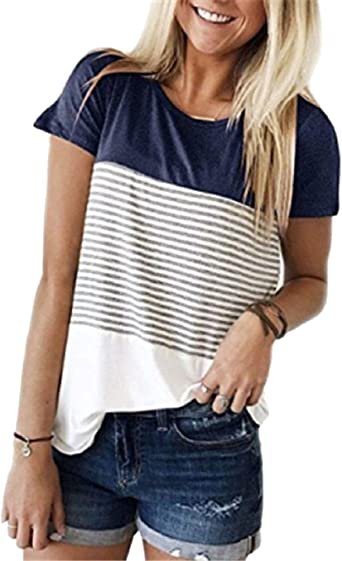 Tuopuda - Camiseta de Manga Corta para Mujer, Estilo Informal ...