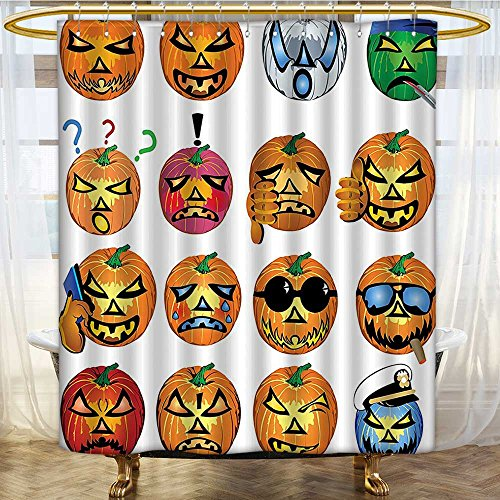 Shower Curtains with Shower Hooks Carved Pumpkin with Faces Halloween Fabric Bathroom Set with Hooks W48 x H84 -