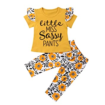 fd433cc1b Newborn Girl Clothes,Infant Baby Girls Short Sleeve Letter Print Tops+Floral  Pants Outfit