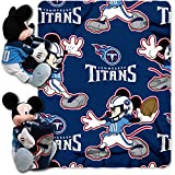 2 Piece NFL Titans Throw Blanket Full Set With Disney Mickey Mouse Character Shaped Pillow, Sports P