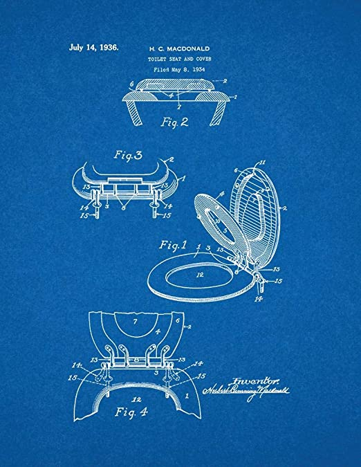 Toilet Seat And Cover Patent Print Blueprint