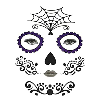 4a1ba2e0a Halloween Day of Dead Temporary Face Tattoo Kit Skull Cobweb Flower Sticker  - Spider Web,