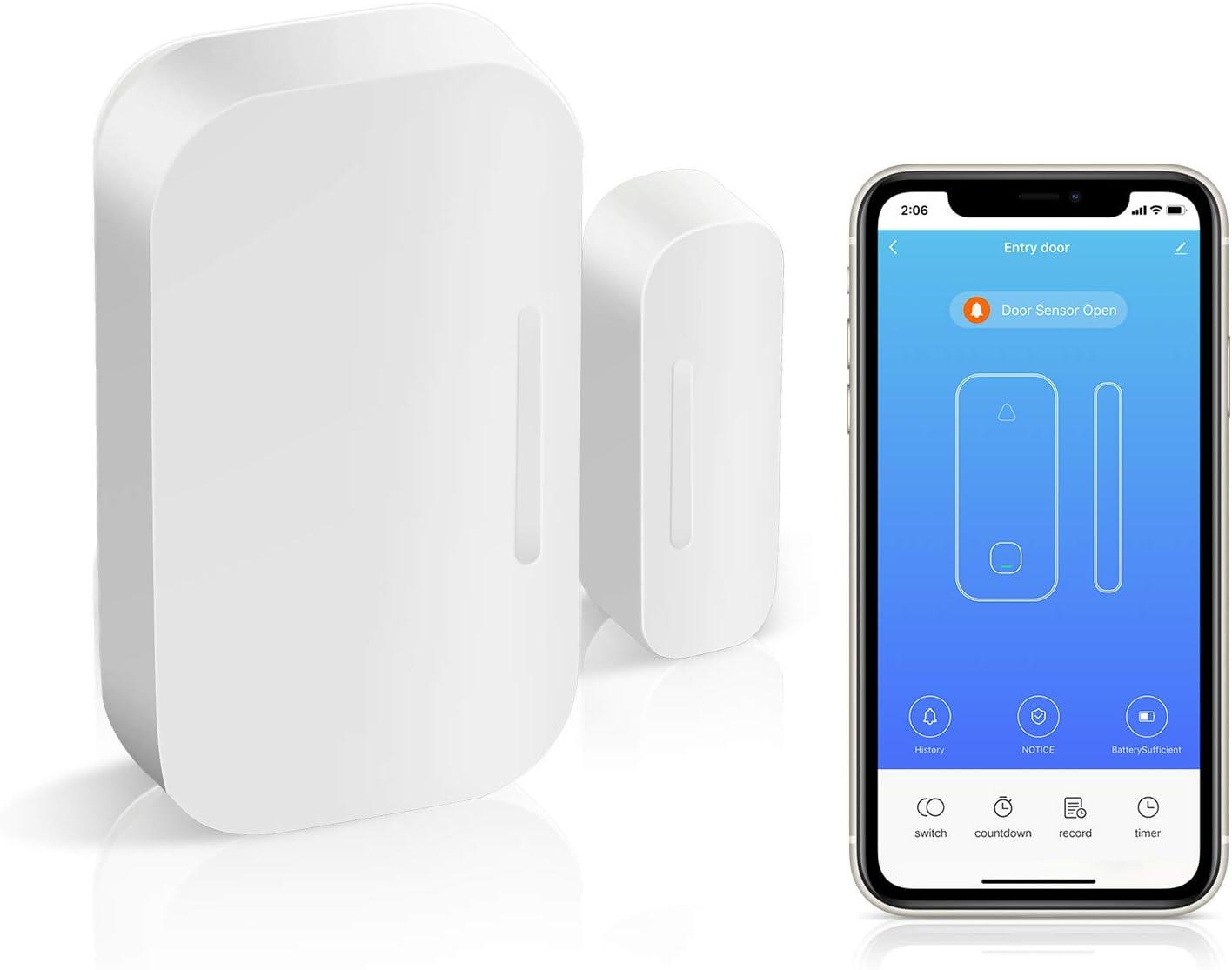 AGSHome Alarma de puerta y ventana inal/ámbrica sensor de ventana con aplicaci/ón Smart Life