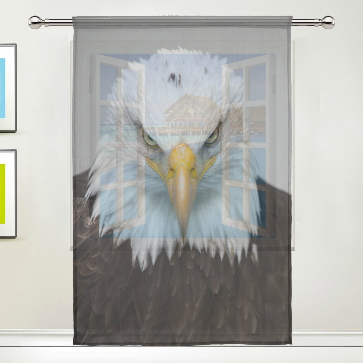 TSWEETHOME Window Treatments Sheer Curtains Draperies with Bald Eagle for Living Room, Bedroom, Nursery Sliding Glass Door Rod Pocket Process by TSWEETHOME