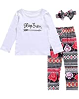 6b4440f5570 HESHENG Baby Girls Clothes Little Big Sister T-Shirt Romper+Floral Print  Pants+