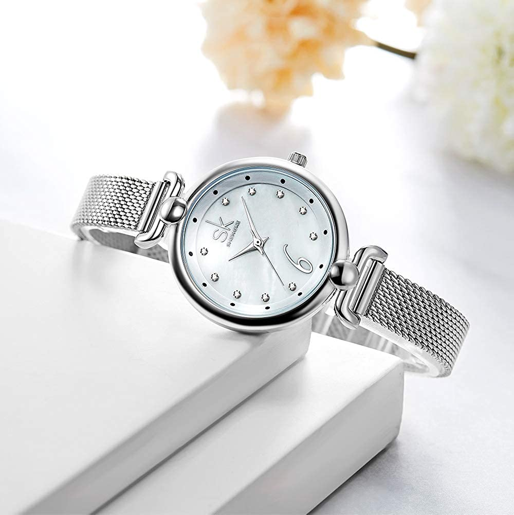 Amazon.com: SHENGKE Creative Simplicity Women Watch Mesh Band Elegant Women Watches Ladies Business Wristwatch (K0002-Silver-Mesh Band): Watches