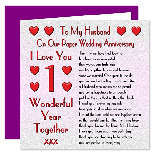 My husband 1st wedding anniversary card on our paper anniversary my husband 1st wedding anniversary card on our paper anniversary 1 year sentimental verse i love you amazon office products m4hsunfo