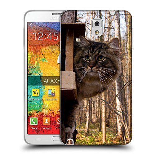 (Just Phone Cases Soft Flexible TPU Slim Fit Cover Case // V00004200 Hunting cat by a birdhouse // Samsung Galaxy Note 3 III N9000 N9002 N9005)