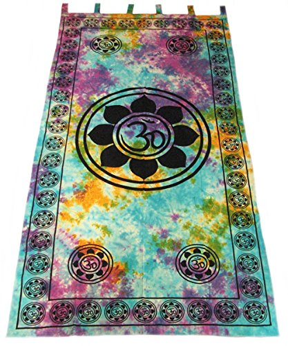 4Rissa Lotus Flower Blossom Tie Dye Hippie Door Window Curtain