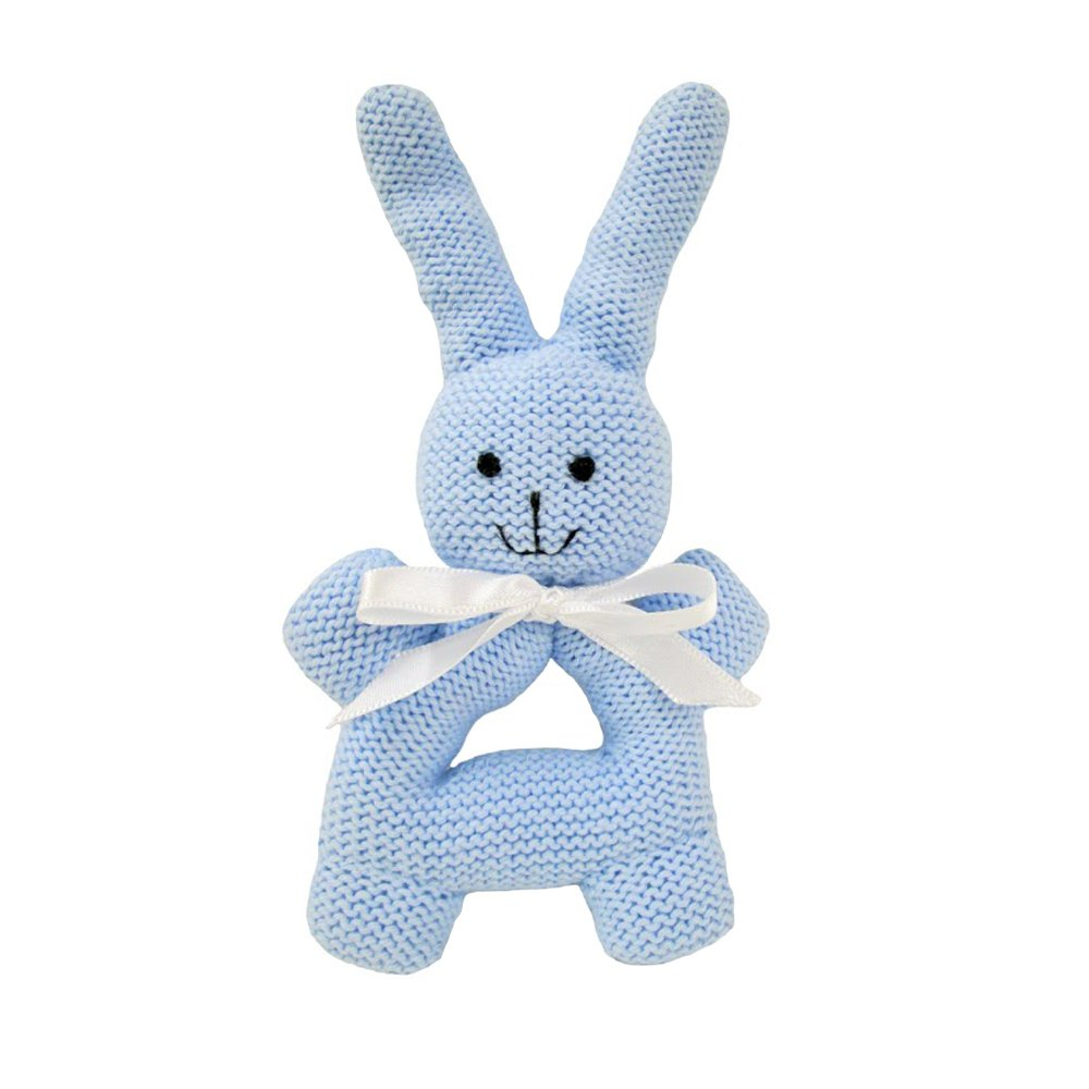Estella Hand Knit Organic Bunny Rattle with Handles Baby Toy Blue RTL-RBNY-BLUE