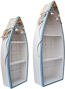 Kilipes Set of 2 Wooden Nautical Boat Display Shelf Beach Theme Table Decor Standing Boat Shelf for Bathroom Living Room