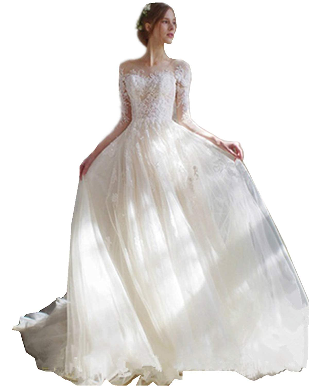 White Fankeshi Elegant Lace Wedding Dresses with 3 4 Sleeves Tulle Appliques Bridal Dress