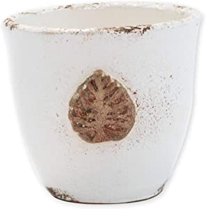 Vietri Rustic Garden White Small Cachepot with Leaf