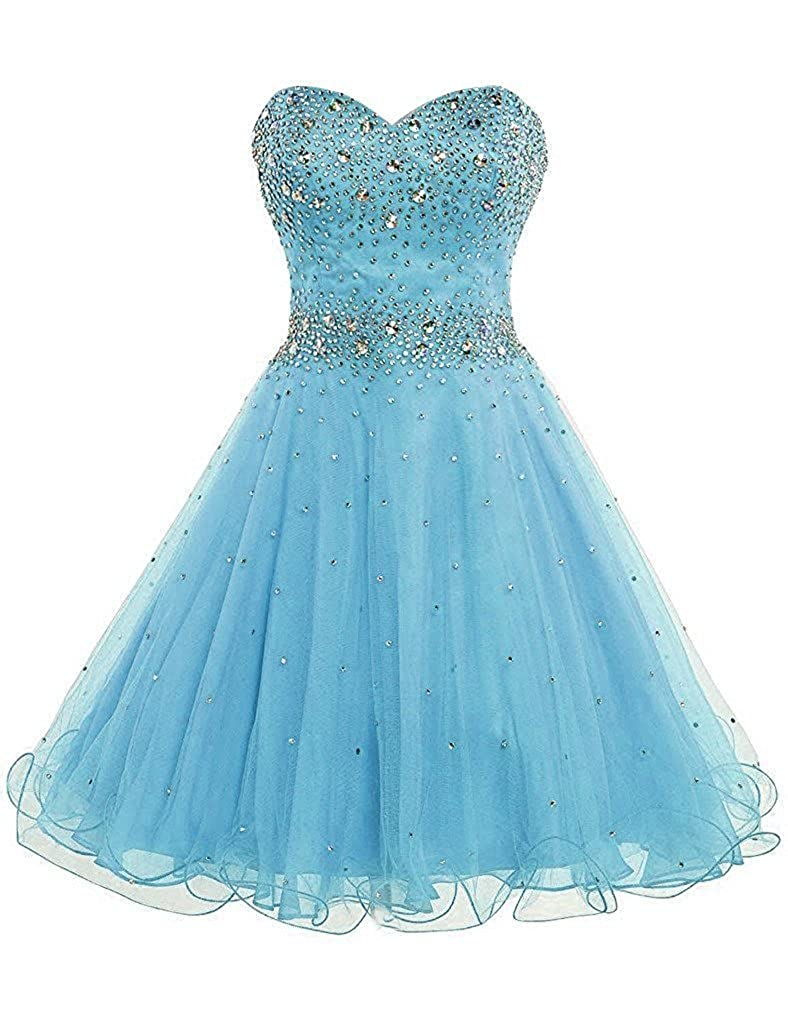 bluee APXPF Women's Short Beaded Cocktail Party Bridesmaid Homecoming Dress