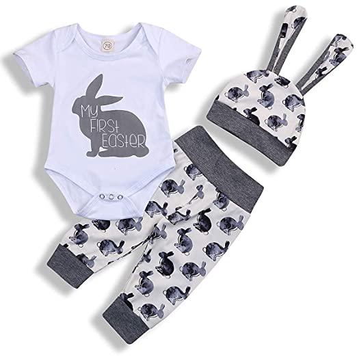 4dac362d5f384 Newborn Baby Girls Boys Easter Romper Set Bunny Print Bodysuit Jumpsuit  Floral Halen Pants with Headband 3Pcs Outfit Clothes