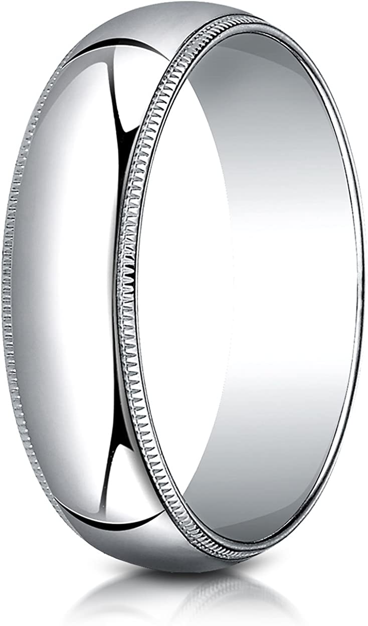 Benchmark 10K White Gold 6mm Slightly Domed Traditional Oval Wedding Band Ring with Milgrain