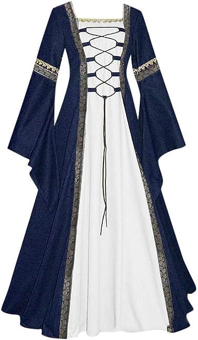Vestidos para Mujeres Victoriano Medieval Vintage Cosplay Traje con Manga de Llamarada de Manga Media Collar Cuadrado Largo Vestido