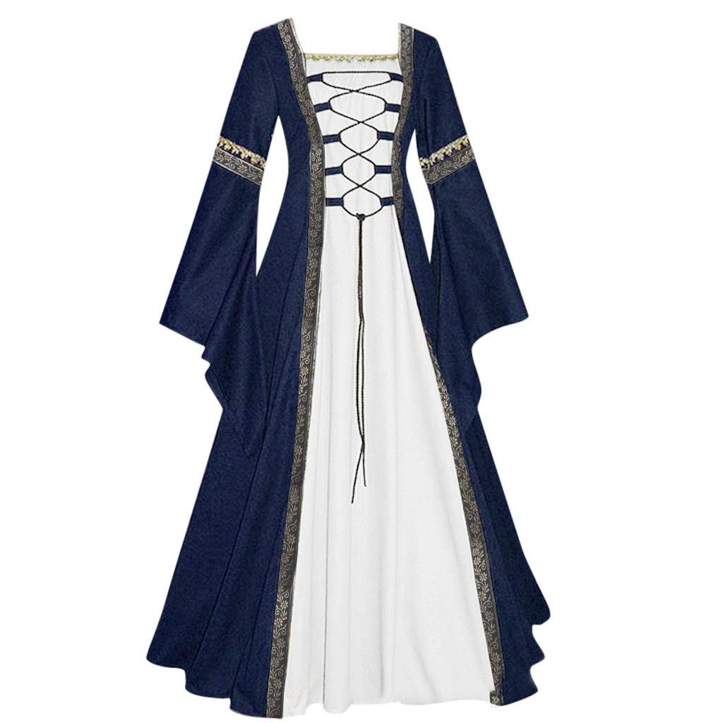 Womens Renaissance Medieval Costume Dress Lace up Irish Over Long Dresses Cosplay Retro Gown Costume Dress by Sunyastor Navy