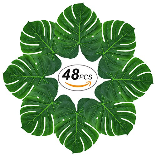 Mat Green Island Decor (Soyee 48pcs Tropical Large Palm Leaves, DIY Waterproof Artificial Leaf Placemats and Table Runners for Hawaiian Luau Party Decoration, Jungle Party Supply)