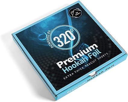 320° Premium Cachimba Hookah Shisha Foil de Aluminio - Extra Thick Precut Sheets - 50 Hojas - 40 Micron Thick