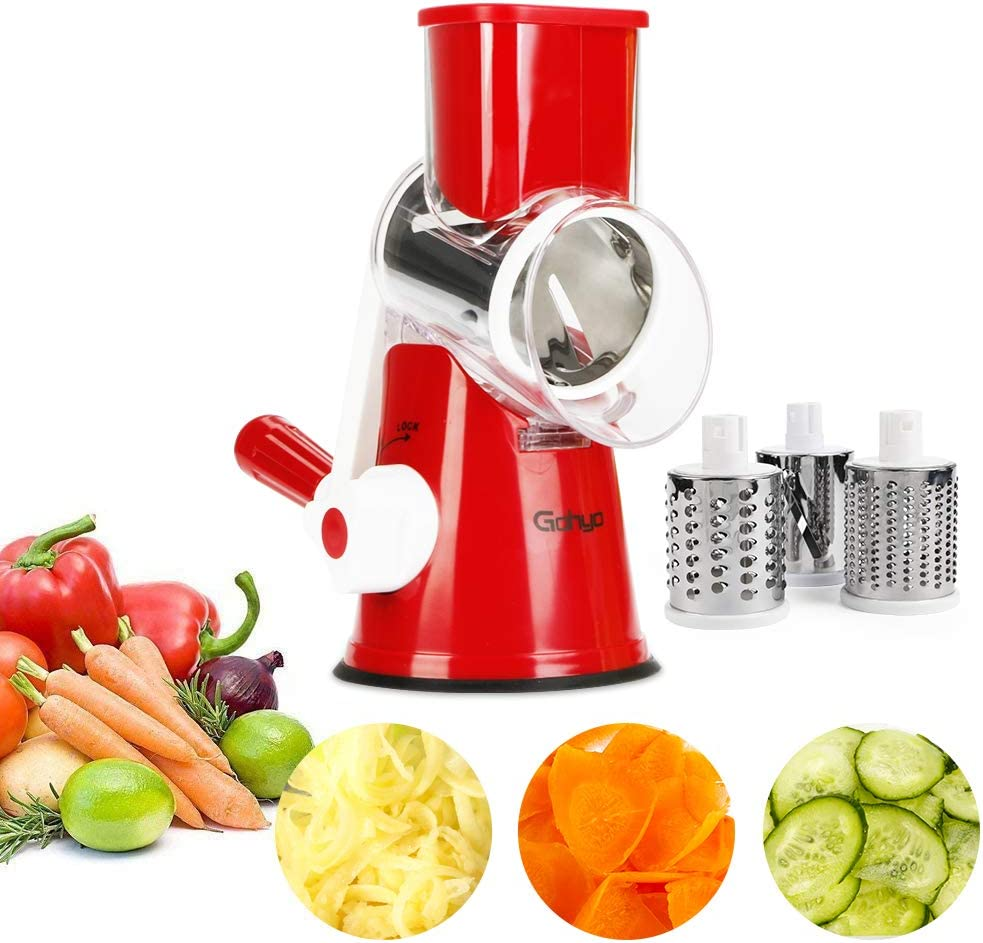 Gohyo Mandoline Slicer - Rotary Cheese Grater for Potato, Tomato, Nuts - Vegetable Chopper, Salad Shooter With 3 Round Stainless Steel Blades (Red)