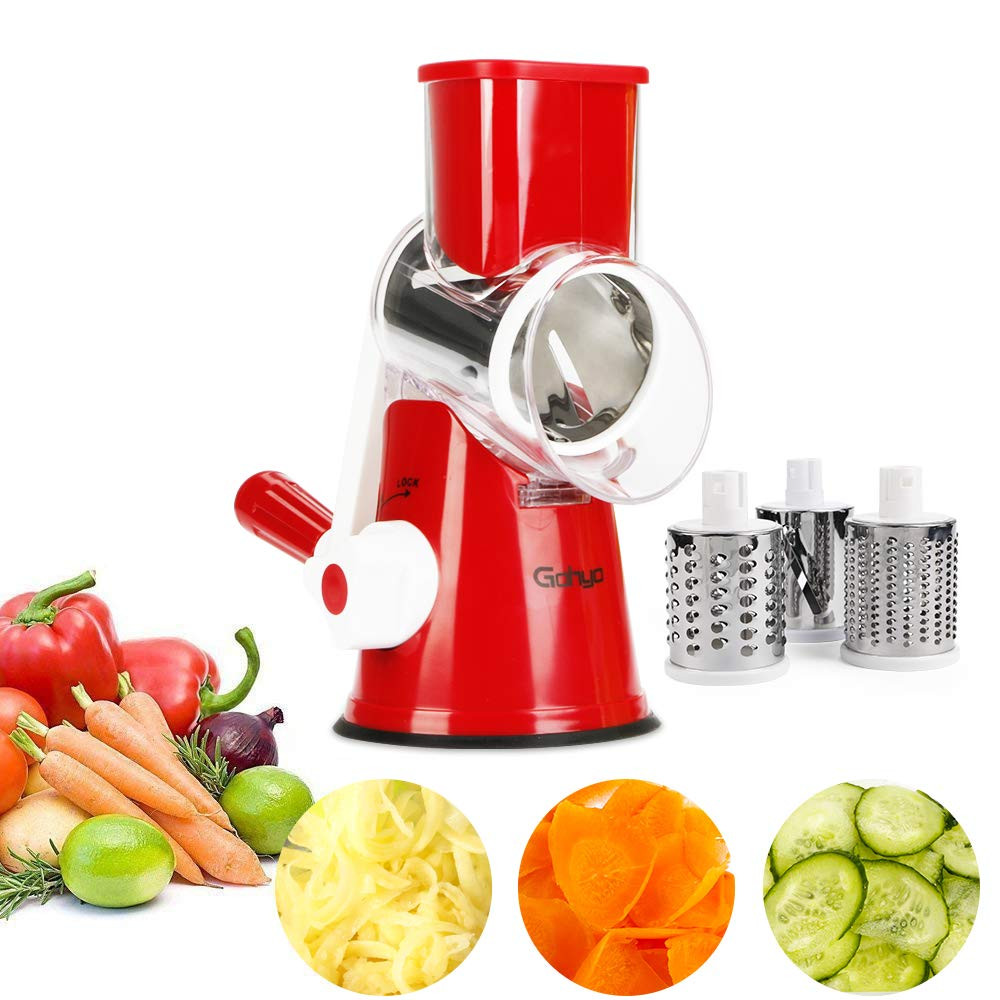 Cheese Grater - Mandoline Slicer for Vegetable, Potato, Tomato, Manual Rotary Food Chopper Shredder With 3 Round Stainless Steel Blades (Red)