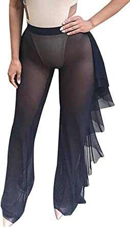 Lady Womens See Through Sheer Mesh Swimsuit Beach Cover Up Pant Bikini Bottom Cover Up Trousers