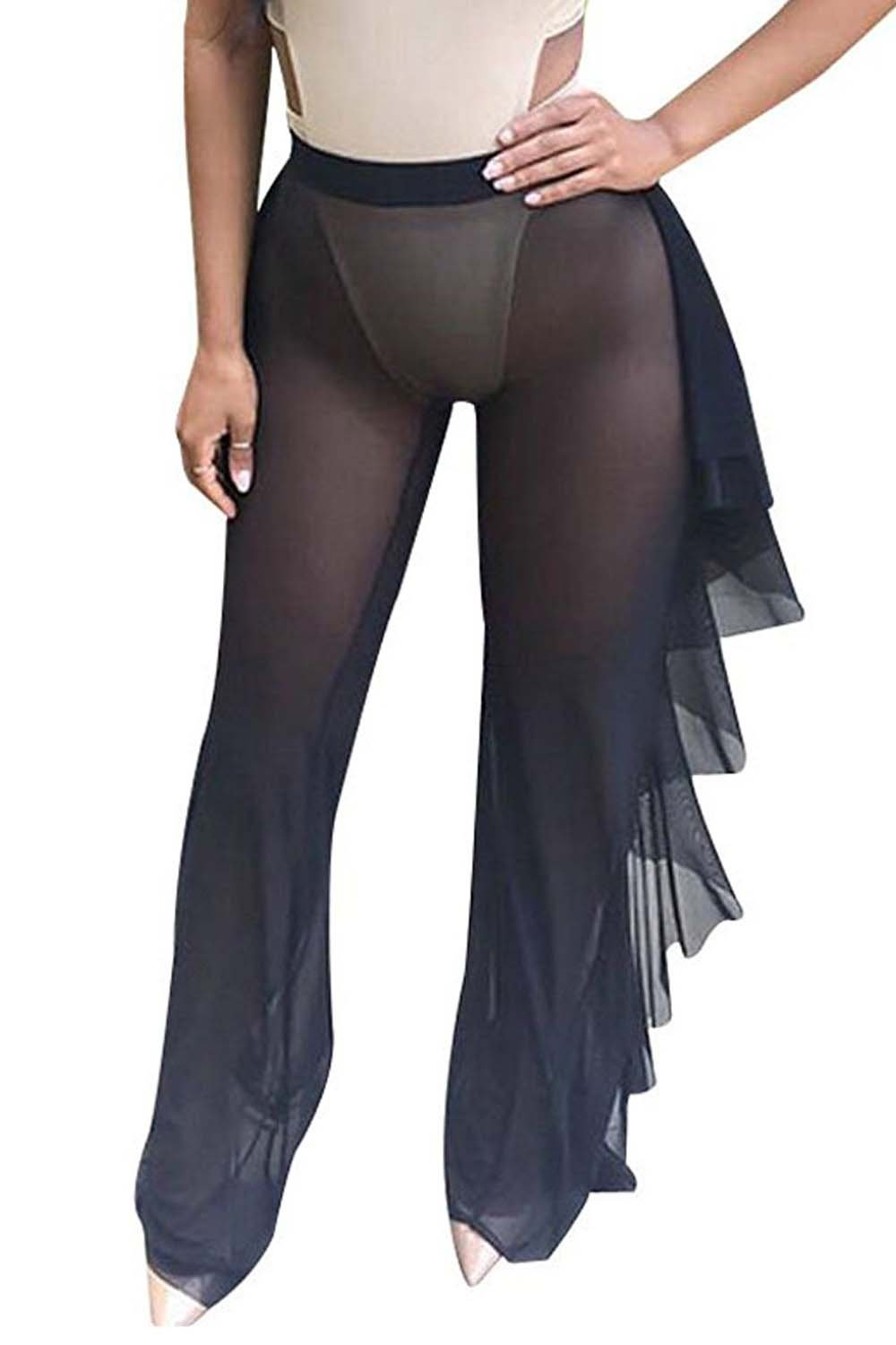 Women's See Through Sheer Mesh Ruffle Swimsuit Beach Cover up Pant (Tag S, Black)