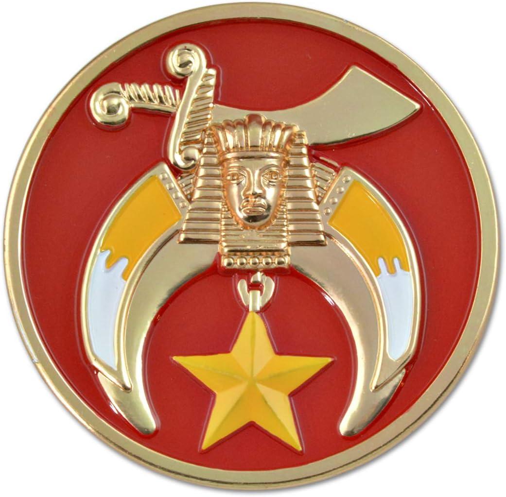 Mason Shriner Red Masonic Auto Emblem 3 Diameter