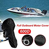 All Weather Protection Full Outboard Engine Motor Cover, Marine Graded Waterproof Boat Custom Fits Up to 15-20HP