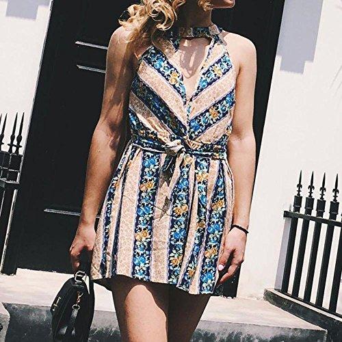 colorate Elegante Collo a Fashion Sexy forti schienale appeso Tute Donna Tute Siamese V Combination Multicolor Taglie senza Summer strisce Stampa Adeshop corta scollo Body IqY8Y