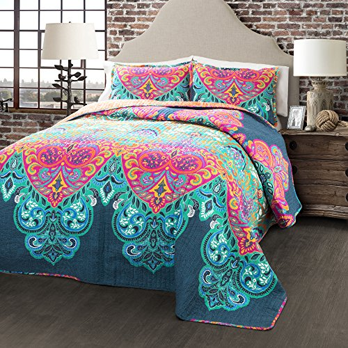 Lush Decor 3 Piece Boho Chic Quilt Set, King, Turquoise/Navy