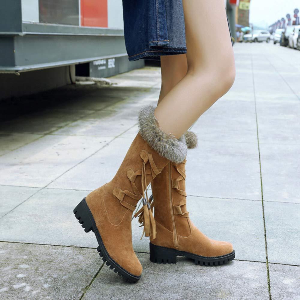 QINGMM Frauen Plüsch Schnee Stiefel Stiefel Stiefel 2018 Herbst Winter Plattform Spitze Quaste Stiefel Outdoor Baumwolle Stiefel Gelb 41 EU 171b70