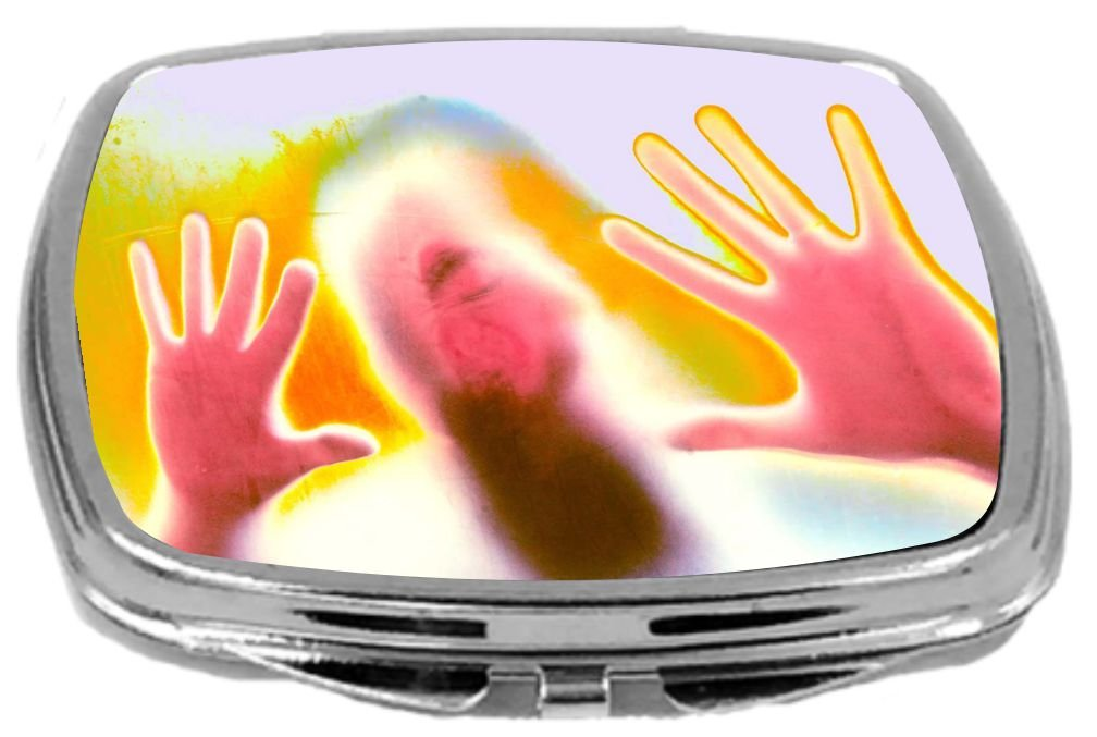 Rikki Knight Compact Mirror, Horror Glowing Hands on Window, 3 Ounce