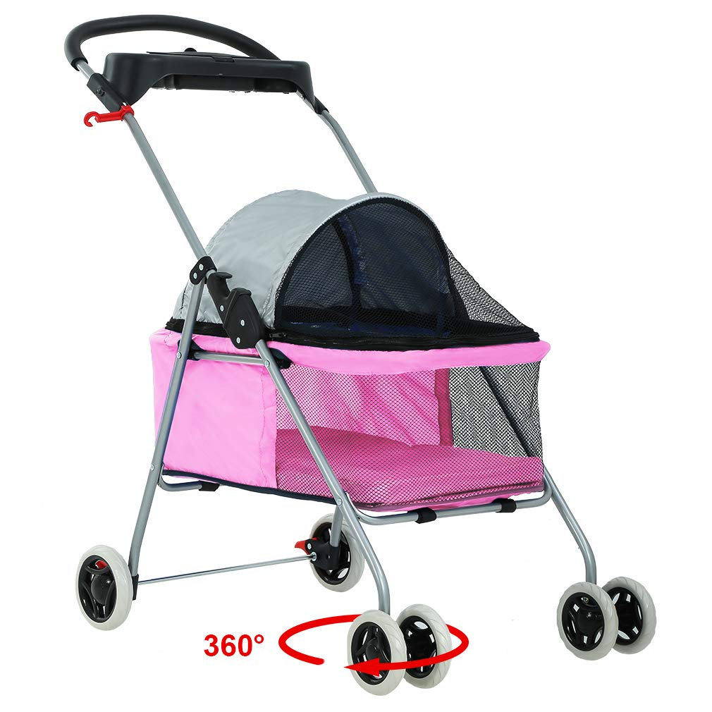 BP-S8012-Pink BestPet Posh Pet Stroller Cat Dog Easy Walk Stroller Travel Folding Carrier