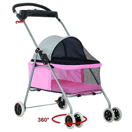 BP-S8012-Pink BestPet Posh Pet Stroller Cat Dog Easy Walk Stroller Travel Folding Carrier