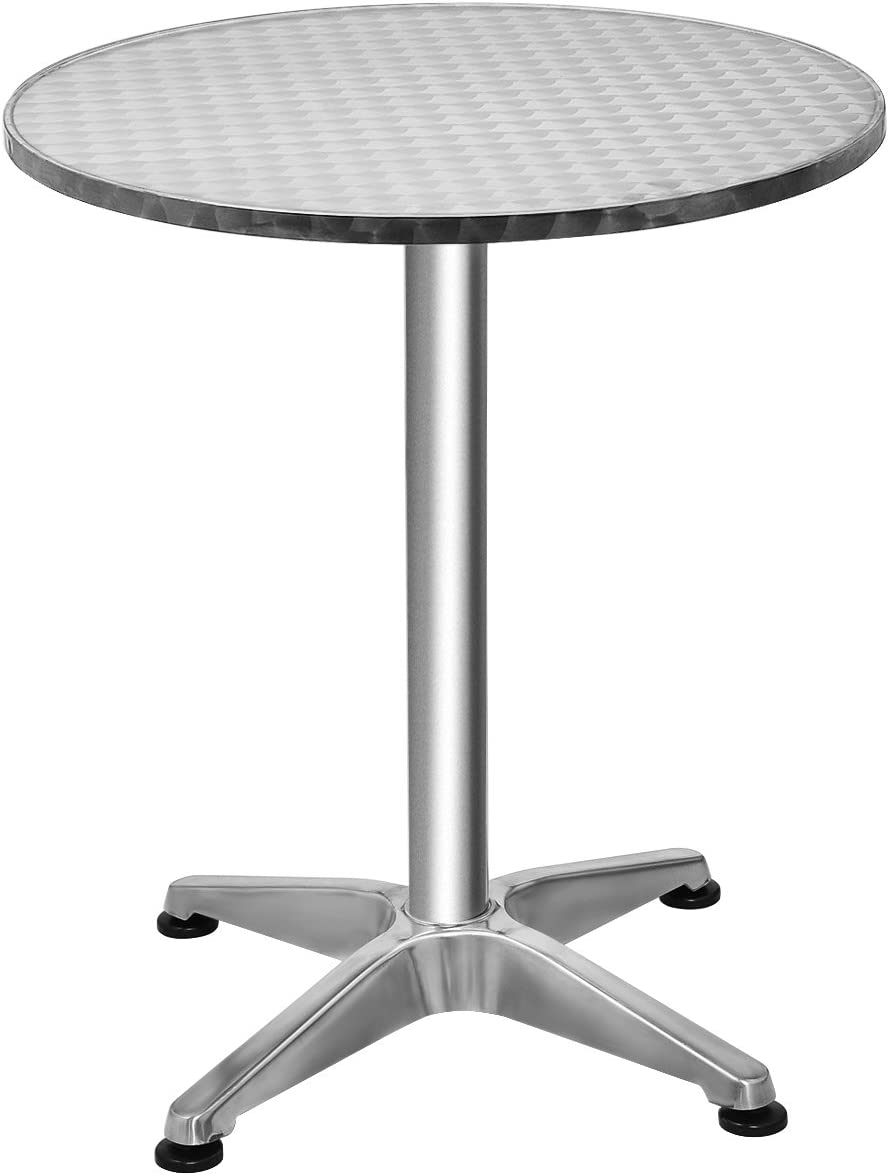 Giantex 23.5 Bistro Bar Table Aluminum Tabletop Indoor-Outdoor Bistro Pub W X-Style Base for Pub Table Cafe Table Office Table Conference Table, Silver 23.5 x 27.5 H